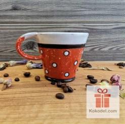 Керамична чаша за еспресо - ТОЧКИ - оранж