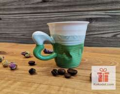 Смачкана порцеланова чаша за еспресо - зелена