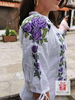 Бродирана риза Лилави рози 014