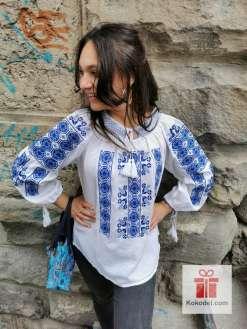 Бродирана Етно риза - сини шивици 016