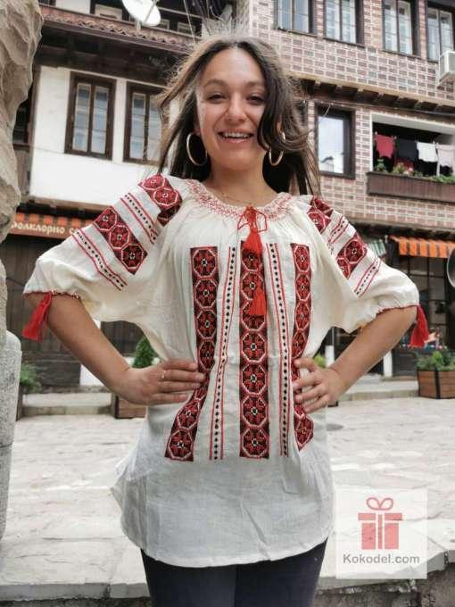 Бродирана риза шевици - цвят крем 09