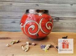 Керамична червена кръгла ваза - Ориент