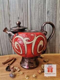Керамичен червен чайник Ориент