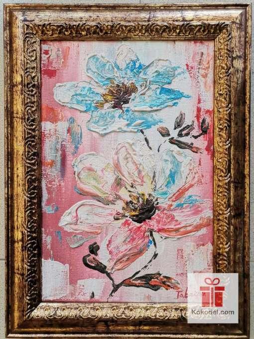 Рисувана абстрактна картина Цветя