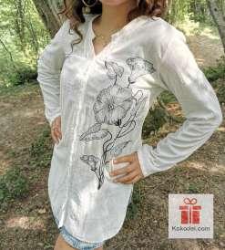 Семпла кенарена риза Бродерия Цветя