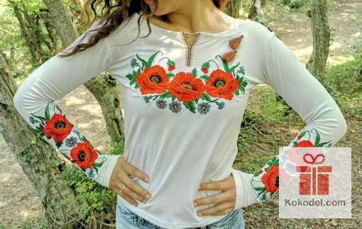 Бродирана блуза Макове - бяла