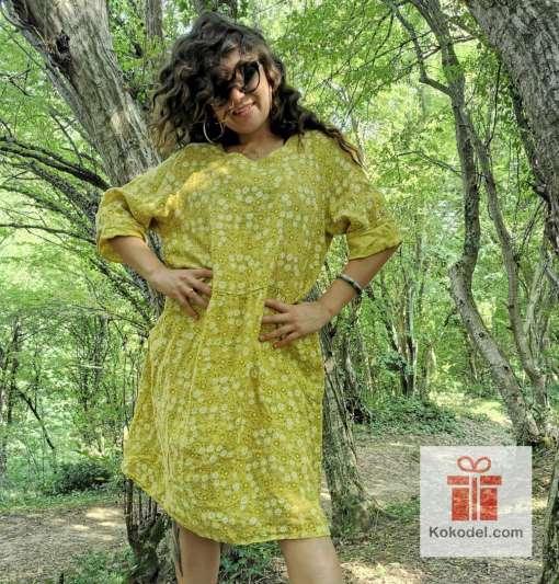 Свежа дамска ленена рокля - универсален размер