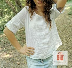 Бяла блуза 100% Лен - one size