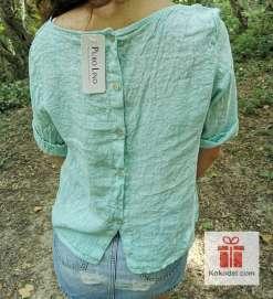 Блуза цвят мента 100% Лен