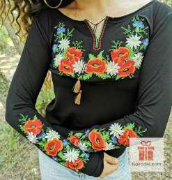 Бродирана блуза Макове - черна