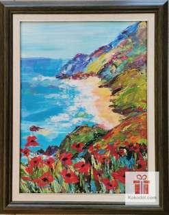 Рисувана картина Море и макове