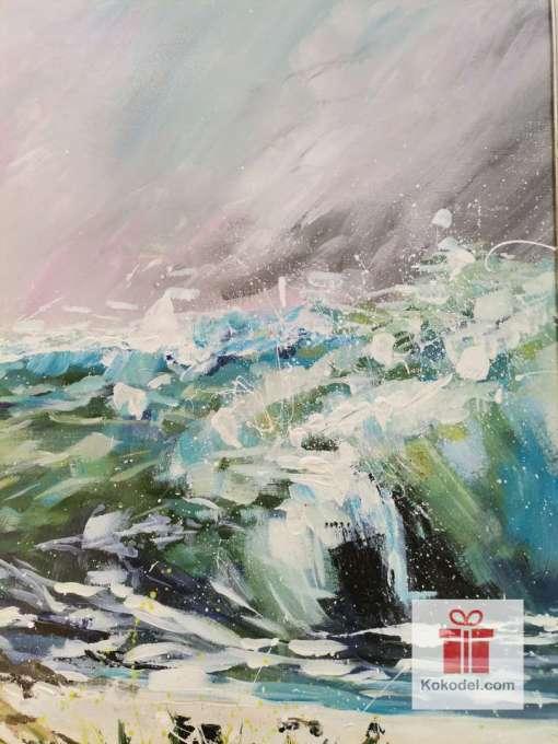 Рисувана голяма абстрактна картина море Wild Toughts