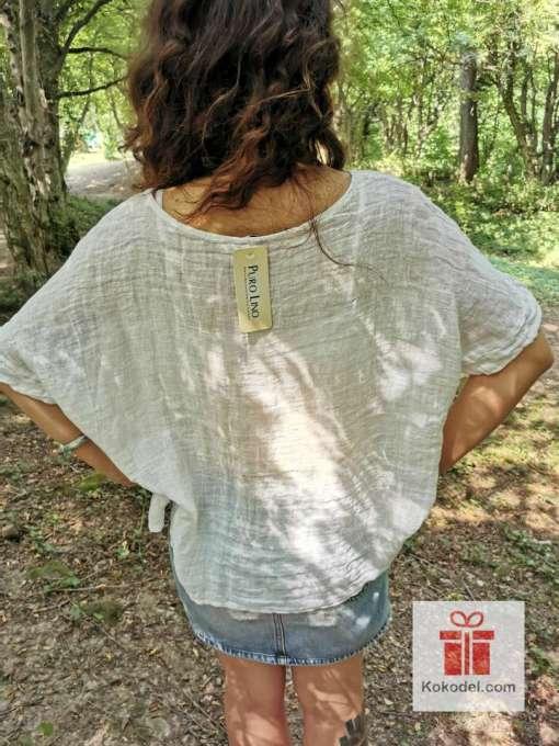 Дамска бяла ленена блуза - one size (S-M-L). Невероятно усещане за комфорт и лукс. Перфектната материя за лятото. Произход - Италия.