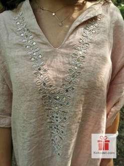 Нежно розова ленена рокля - туника с пайети ONE SIZE