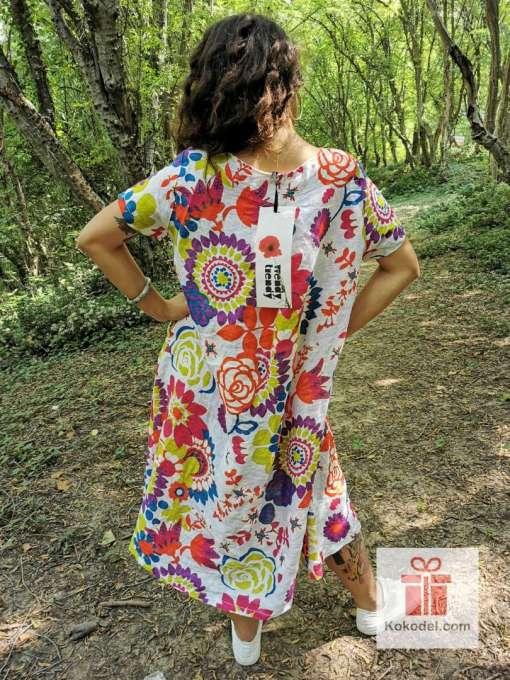 Шарена рокля 100% Лен - one size