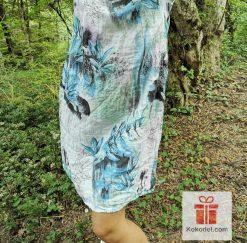 Дамска ленена рокля Бяло-синьо - Универсален размер