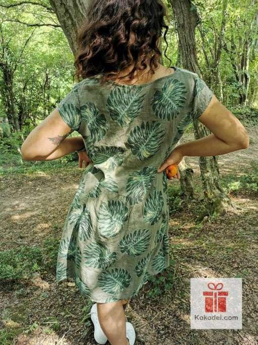 Ленена рокля с тропически листа ONE SIZE (S-M-L)