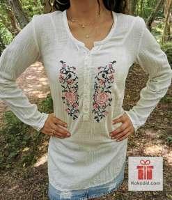 Семпла кенарена риза Бродерия Рози