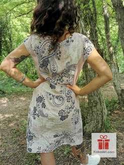 Дамска ленена рокля Бяло-розова