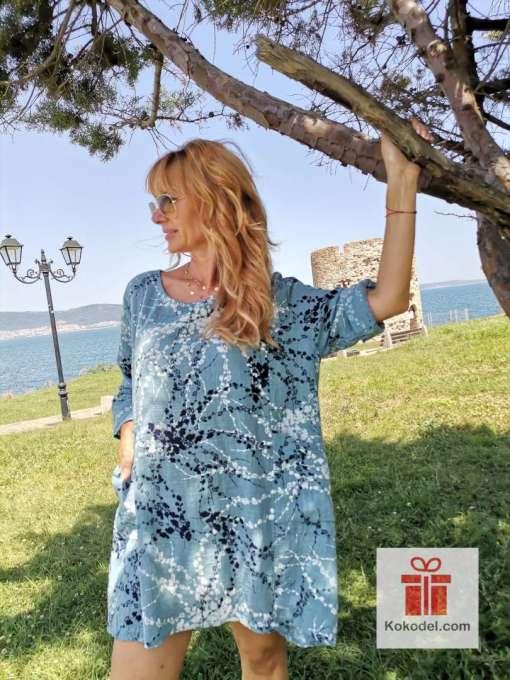 Светло синя ленена рокля - туника ONE SIZE