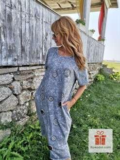 Спортно-елегантна сива памучна рокля - Универсален размер